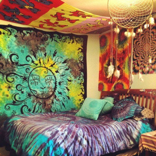 Best Dress Hippie Tapestry Tumblr Bedroom Bedding Tie Dye With Pictures