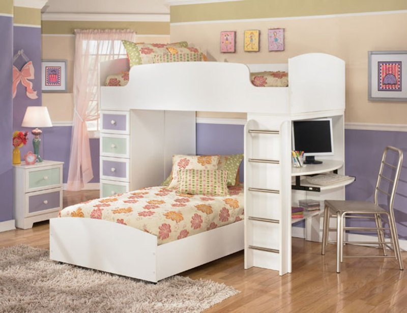 Best The Furniture White Kids Bedroom Set With Loft Bed In Transitional Style Madeline Collection With Pictures