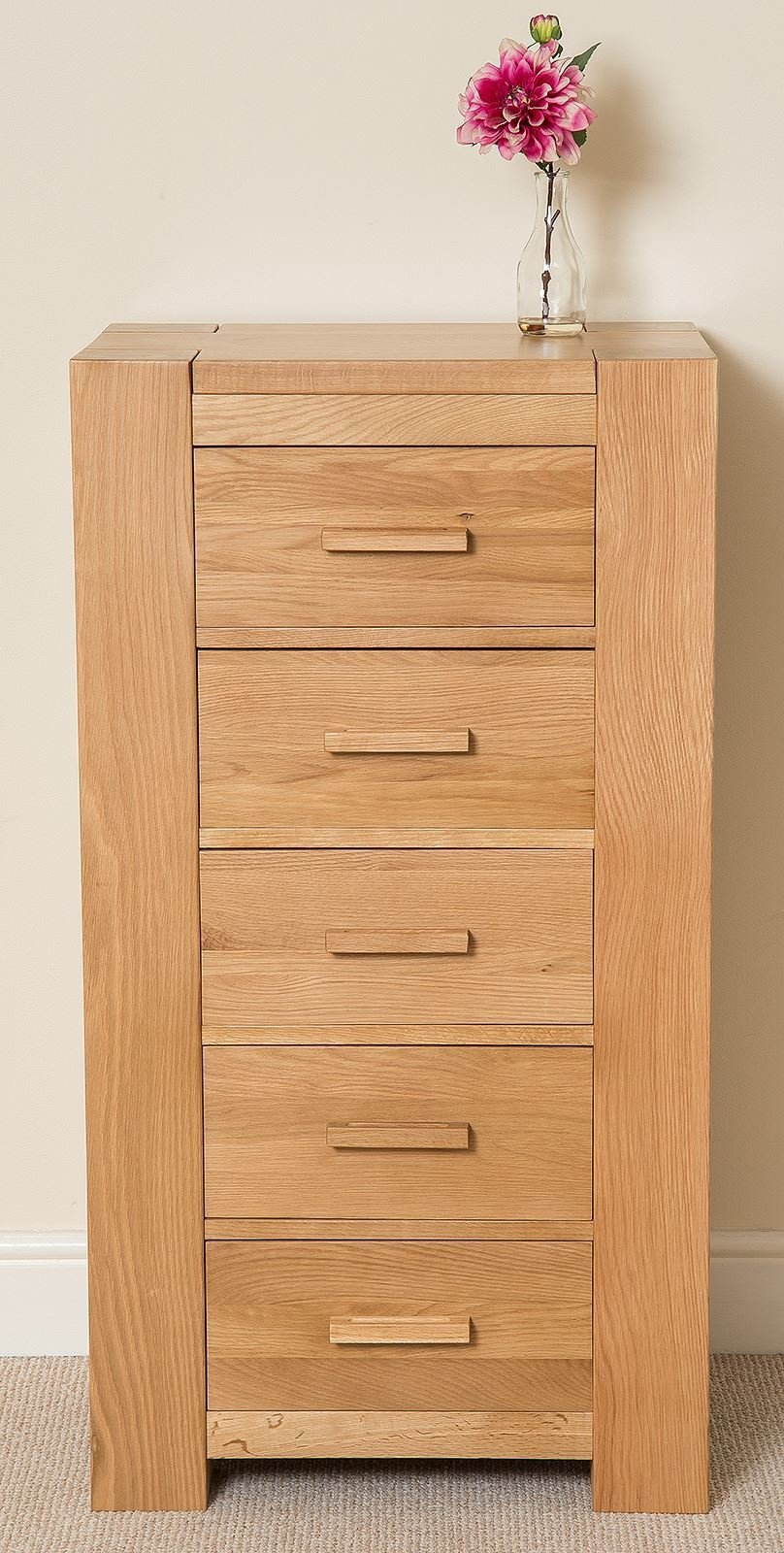 Best Kuba Chunky Solid Oak Wood 5 Drawer Tallboy Chest Of Drawers Bedroom Furniture Ebay With Pictures