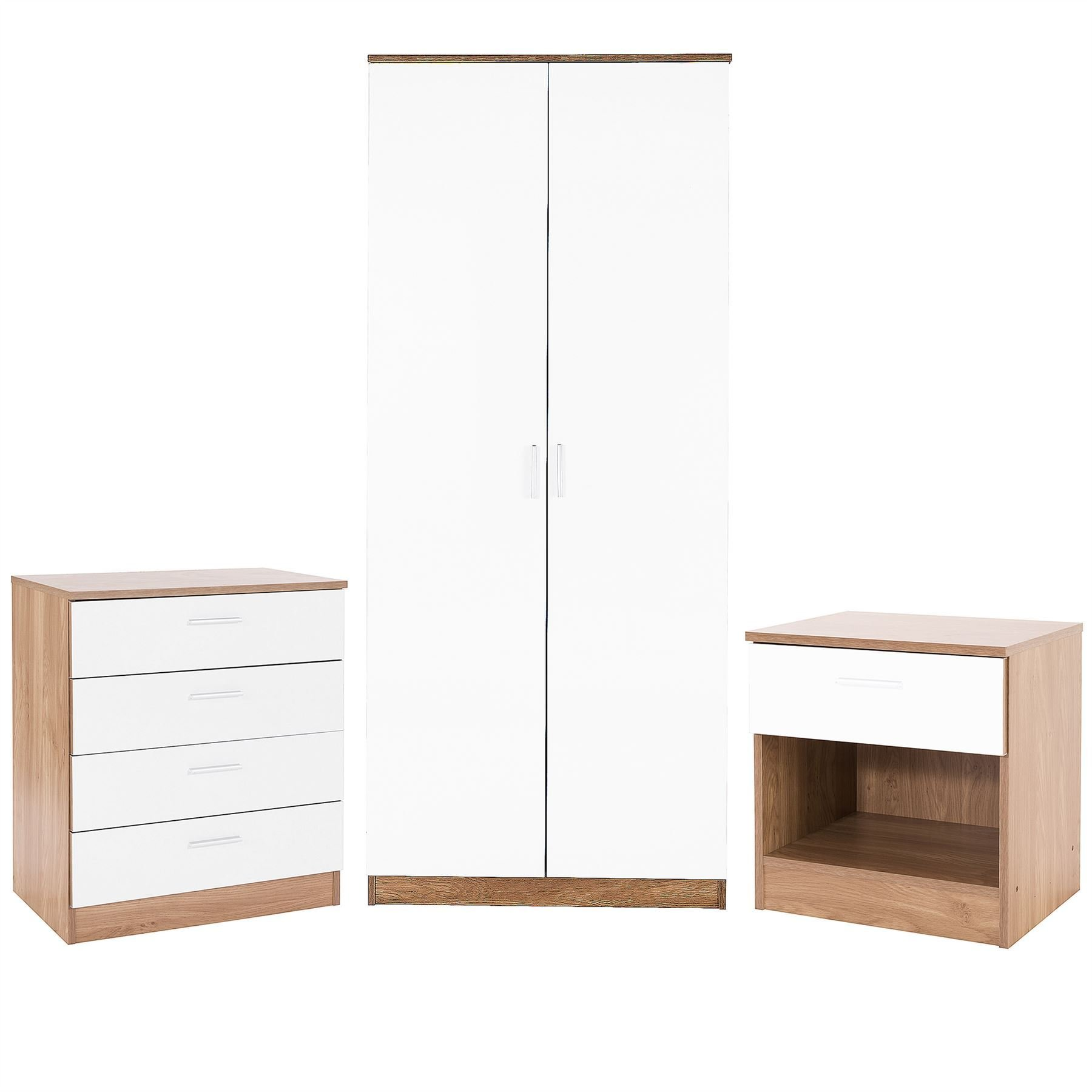 Best Bedroom Furniture 3 Piece Set White Gloss Oak Drawer With Pictures