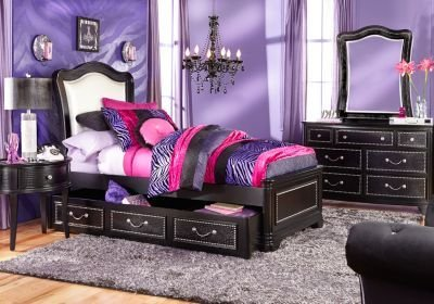 Best Sofia Vergara Kayla Black 5 Pc Full Panel Bedroom With Pictures