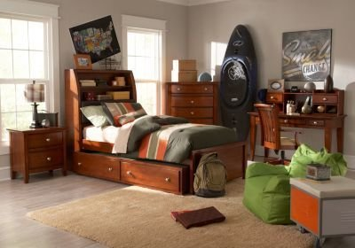 Best Santa Cruz Cherry 5 Pc Twin Bookcase Bedroom Bedroom With Pictures