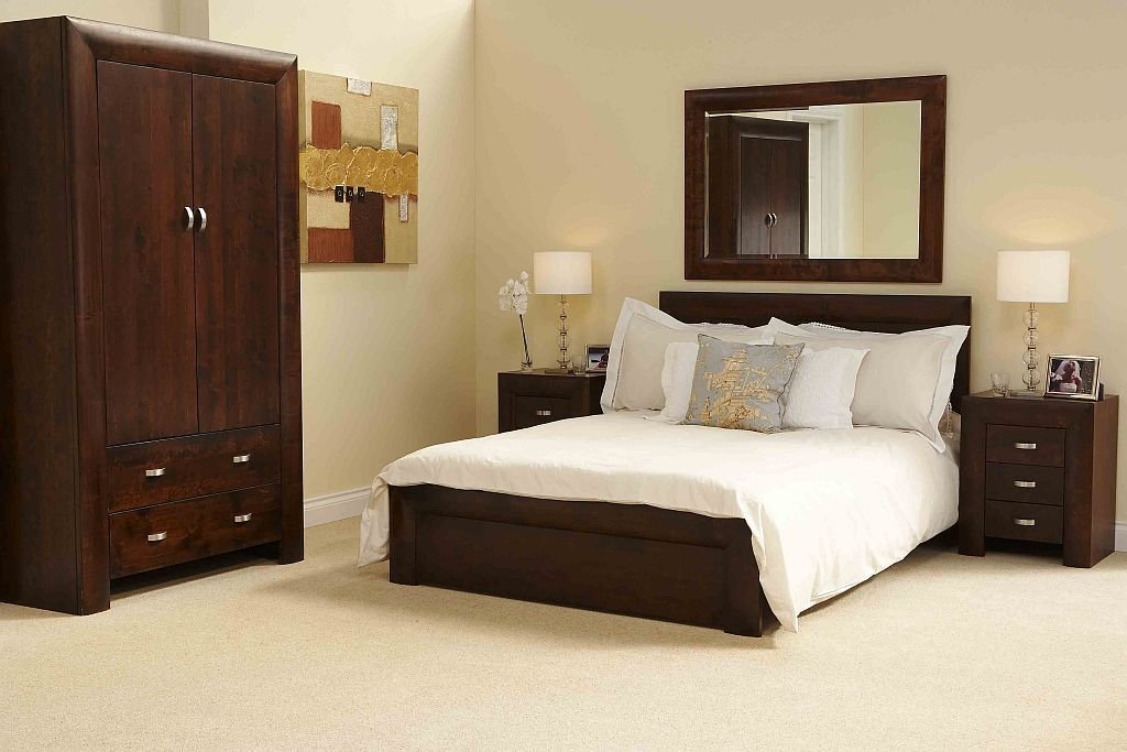 Best Michigan Dark Wood Bedroom Furniture 5 King Size Bed Ebay With Pictures