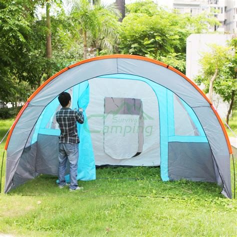 Best New Outdoor Three Bedroom Camping Folding Tent Blue Gray With Pictures