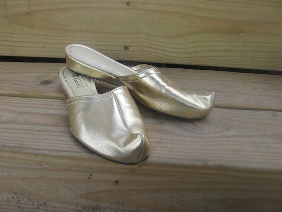 Best Vintage Harem Bedroom Slippers Gold Lame With By With Pictures
