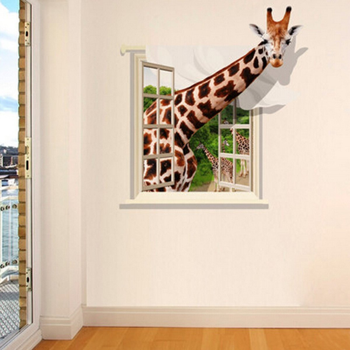 Best 3D Lovely Giraffe Wall Sticker Decal Animal Wallpaper Living Room Home Decor Art Mural At Banggood With Pictures