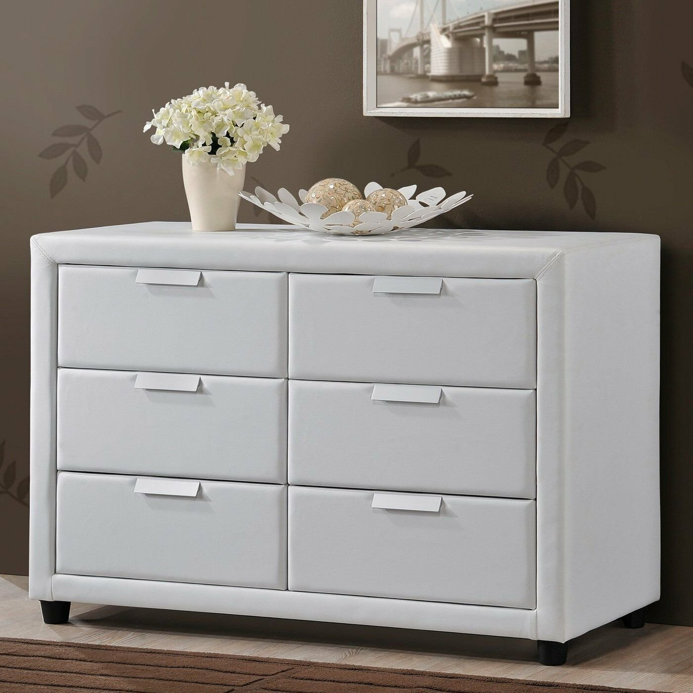 Best Bedroom Storage Dresser White Modern Chest Leather 6 Drawer Contemporary Faux Ebay With Pictures