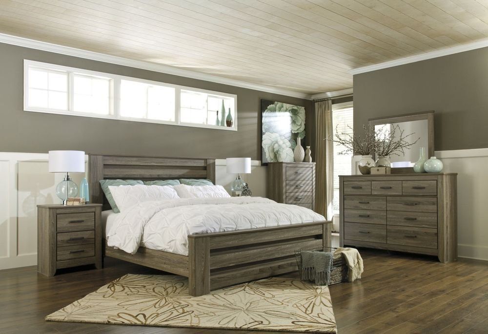 Best Contemporary Rustic Warm Gray 4Pc King Queen Modern Poster Bedroom Furniture Set Ebay With Pictures