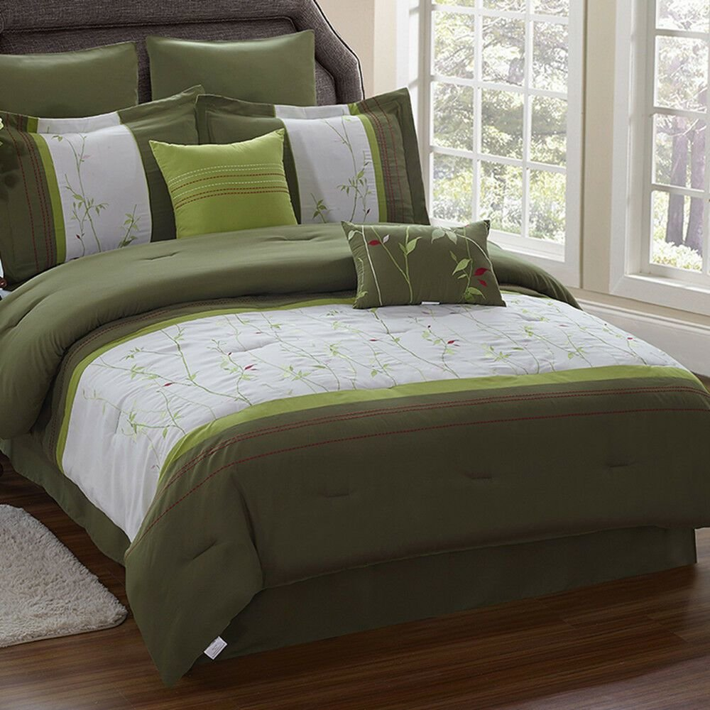 Best Grass Leaves Embroidered 8Pc Comforter Set Queen King Size With Pictures