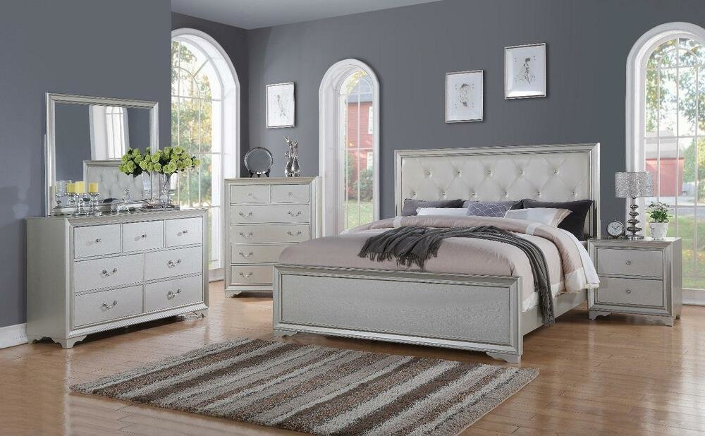 Best Chic Modern Rb508 White Tufted 5Pc Queen Size Contemporary Bedroom Set Ebay With Pictures