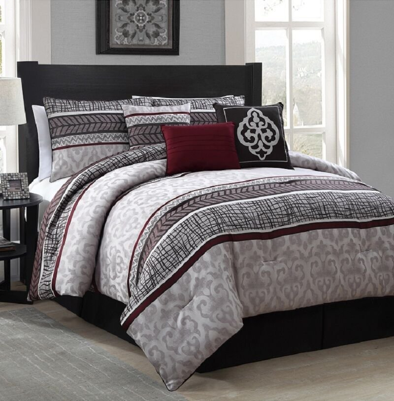 Best New Luxurious 7 Piece King Size Bed Comforter Set Bedroom With Pictures