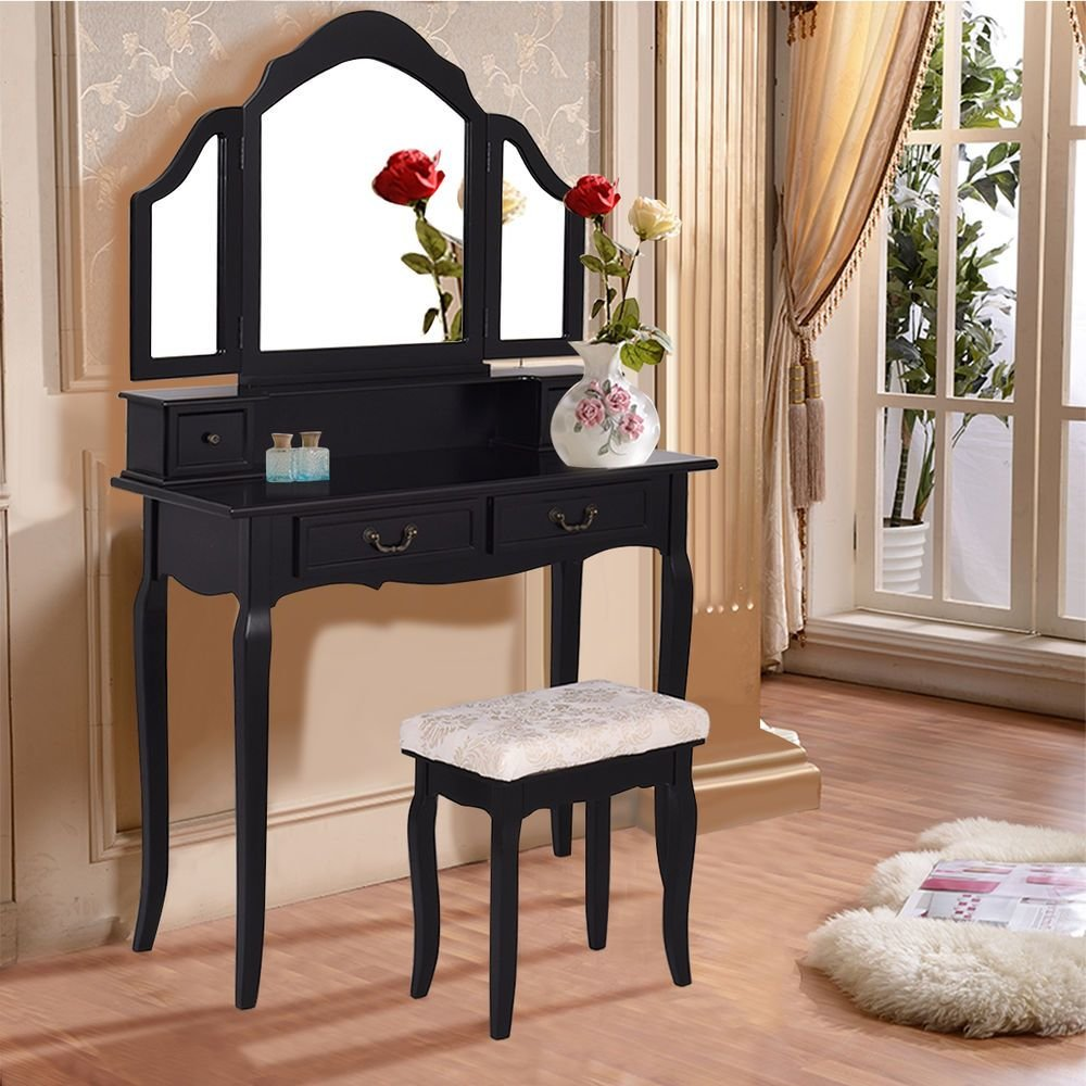 Best Tri Folding Mirror Vanity Makeup Table Set Bedroom W Stool With Pictures