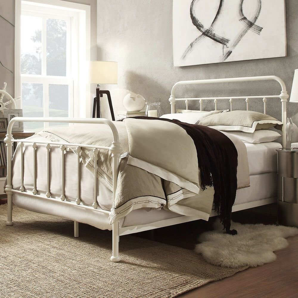 Best Metal Bed Frame Off White Antique Iron Full Queen King With Pictures