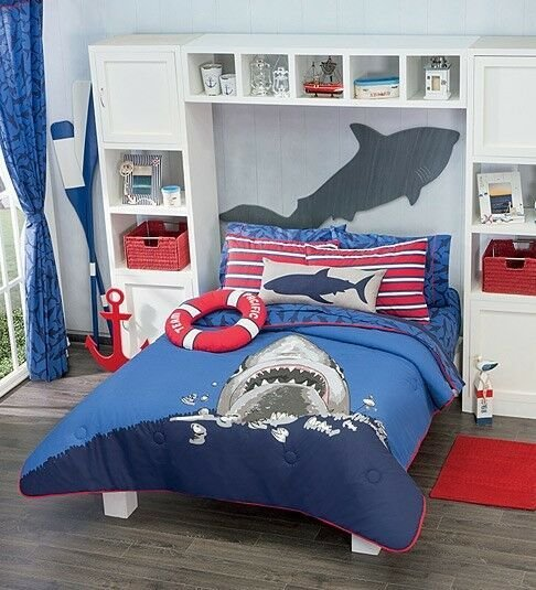 Best New Boys Navy Blue Sea Shark Comforter Bedding Set With Pictures