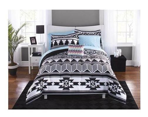 Best Full Size 8Pc Comforter Bedding Set Aztec Black White With Pictures