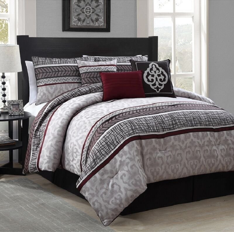 Best New Luxurious 7 Piece Queen Size Bed Comforter Set Bedroom With Pictures