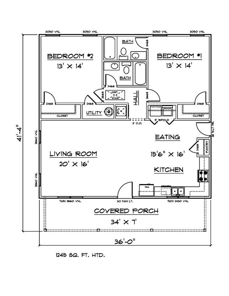 Best House Plans For 1245 Sq Ft 2 Bedroom 2 Bath House Ebay With Pictures