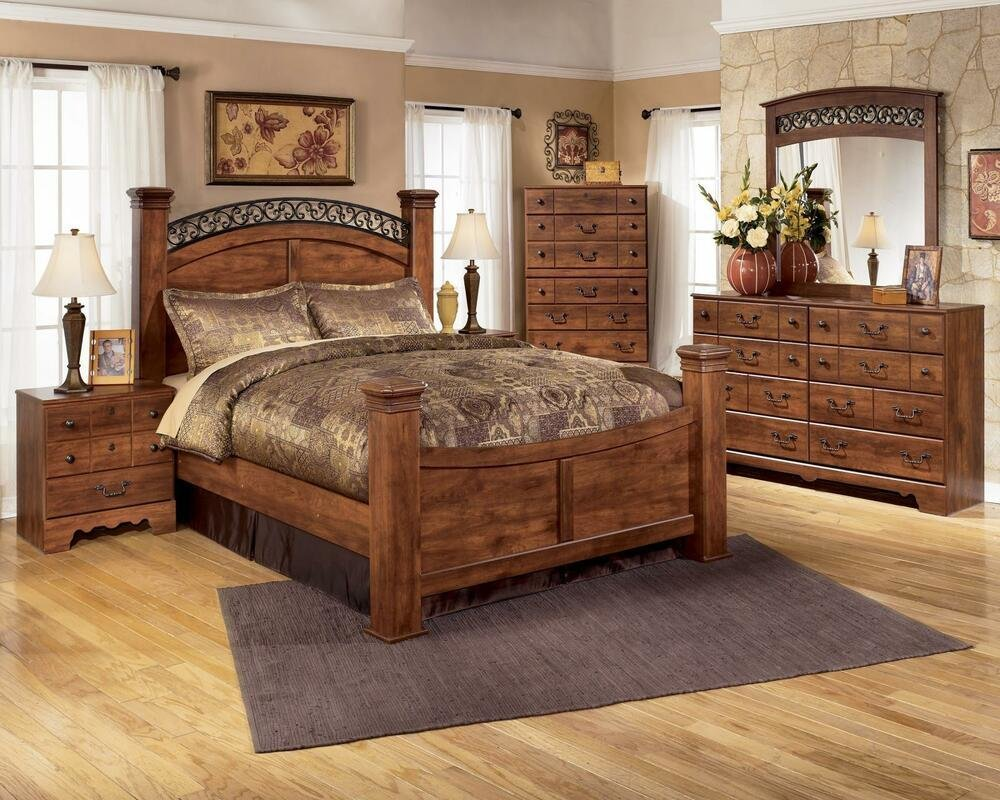 Best Ashley Timberline B258 King Size Poster Bedroom Set 6Pcs With Pictures
