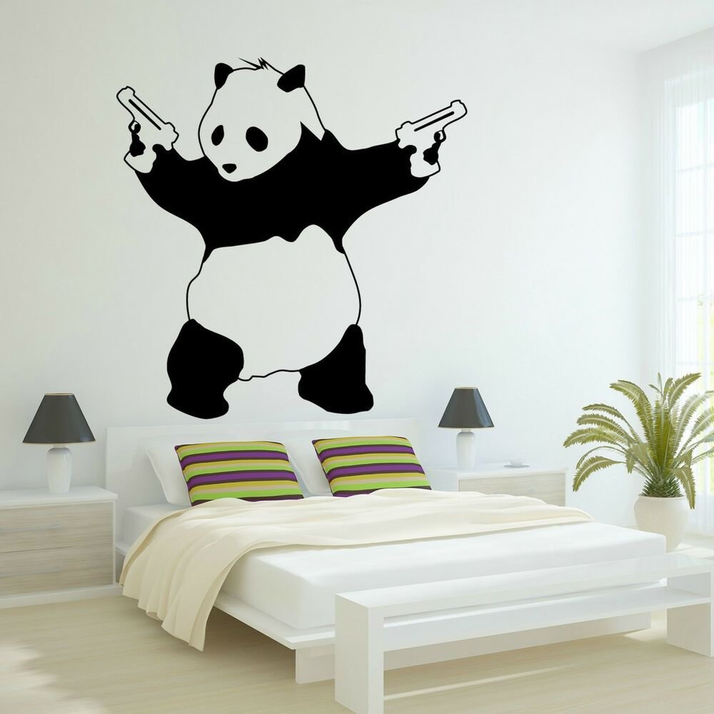 Best Large Bad Panda Banksy Gangster Guns Wall Art Decal Vinyl With Pictures