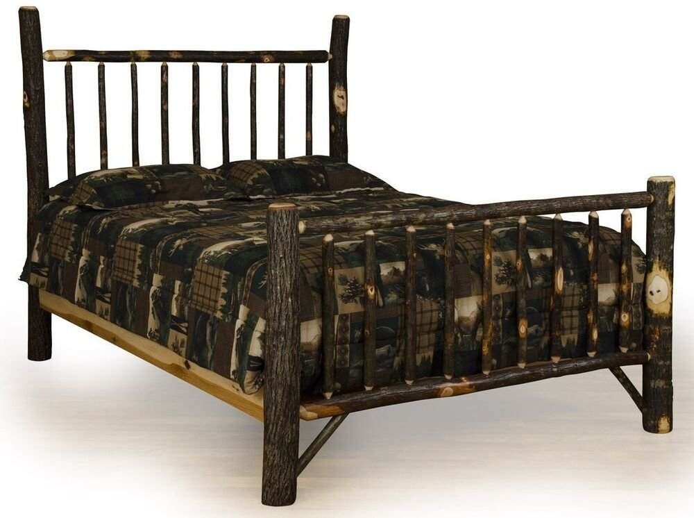 Best Rustic Hickory Bedroom Set King Bed Dresser W Mirror With Pictures