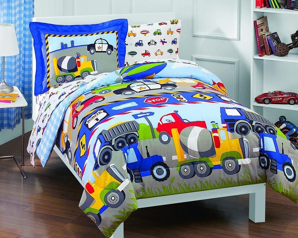 Best Twin Size Baby Comforter Trucks And Tractors 5Pc Boy With Pictures