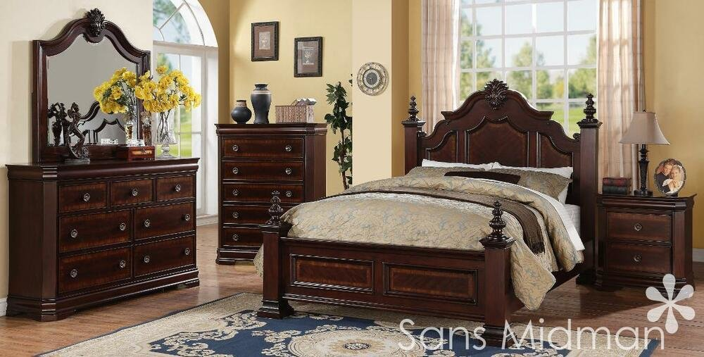 Best New Chanelle Queen Size Bed 5 Piece Set Cherry Bedroom With Pictures