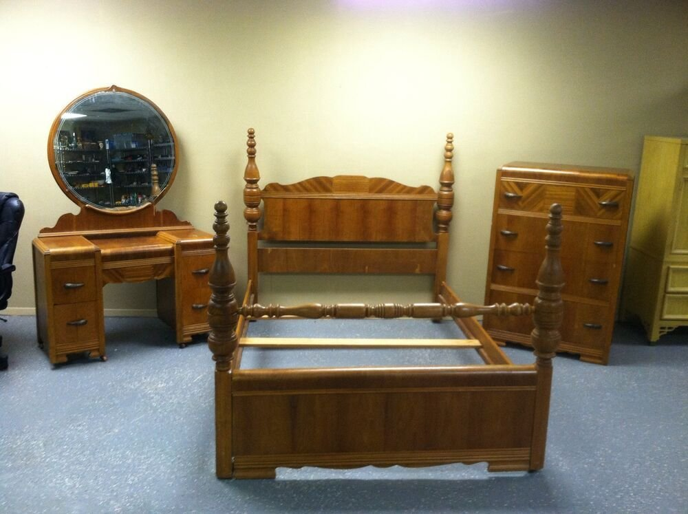 Best Rare Antique Art Deco Waterfall Style 1930S 3 Pc Bedroom With Pictures