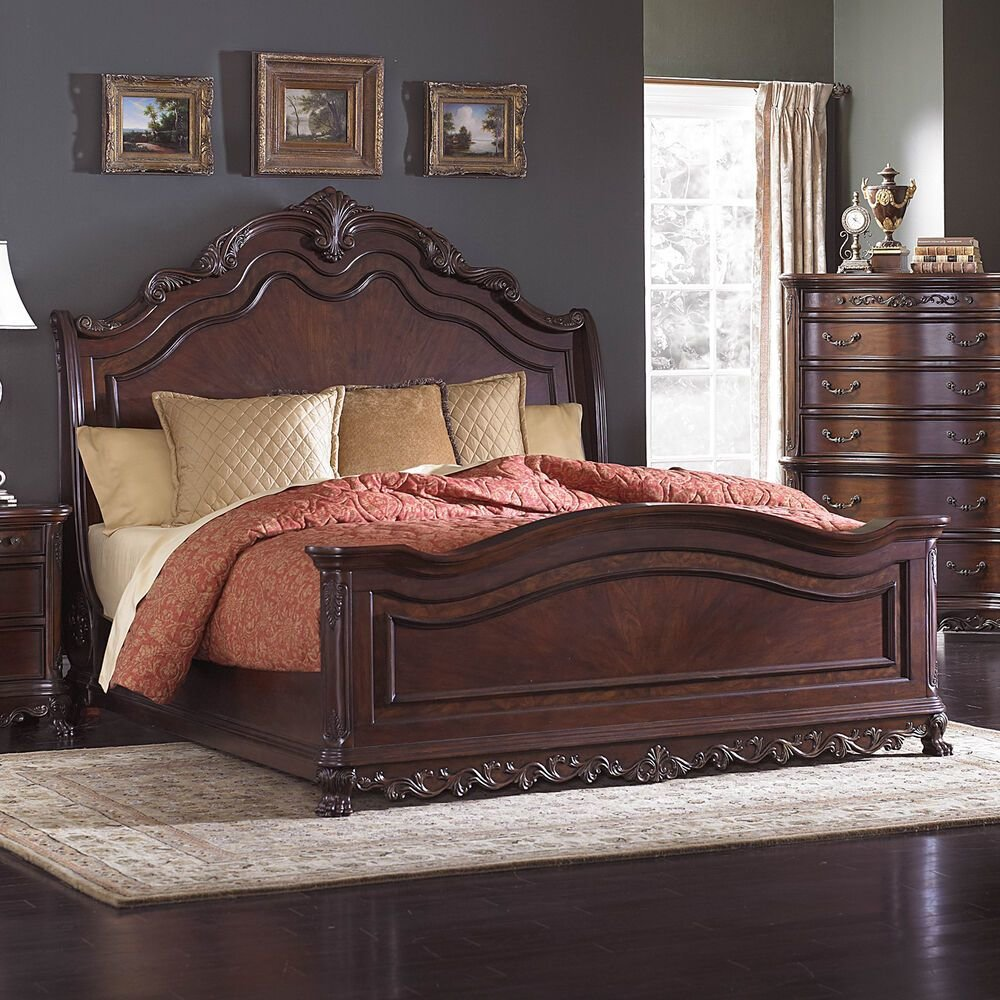 Best Beautiful Burl Inlay King Sleigh Bed Bedroom Furniture Ebay With Pictures