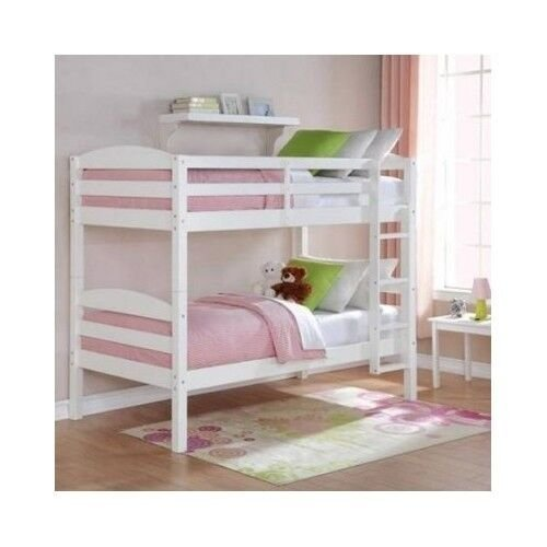Best White Bunk Bed Twin Over Twin Wood Bunk Beds Loft Kids With Pictures