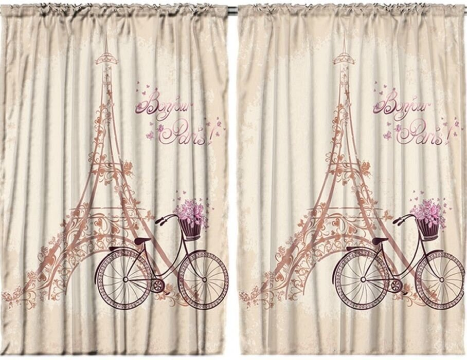Best Eiffel Tower Curtain Panel Set Bonjour Paris Bicycle T**N With Pictures