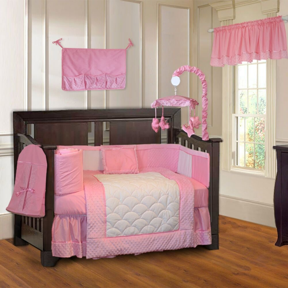 Best Babyfad 10 Piece Minky Pink Girls Ultra Soft Baby Crib With Pictures