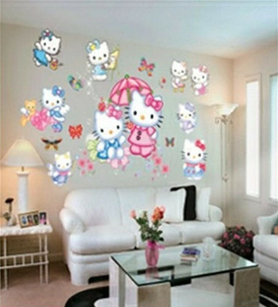 Best Large Hello Kitty Wall Stickers For Kids Children Bedroom Wall Arts Decals Mural Ebay With Pictures