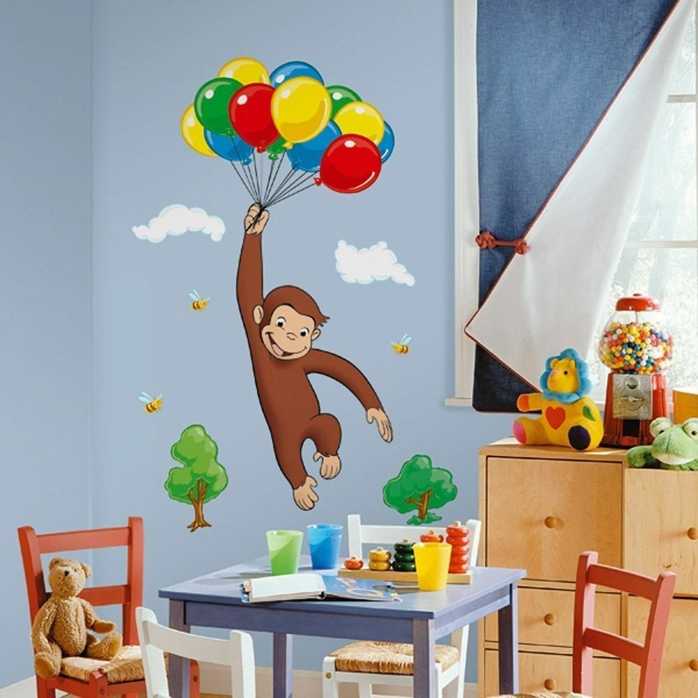Best Curious George 41 Giant Wall Mural Stickers Monkey Room With Pictures