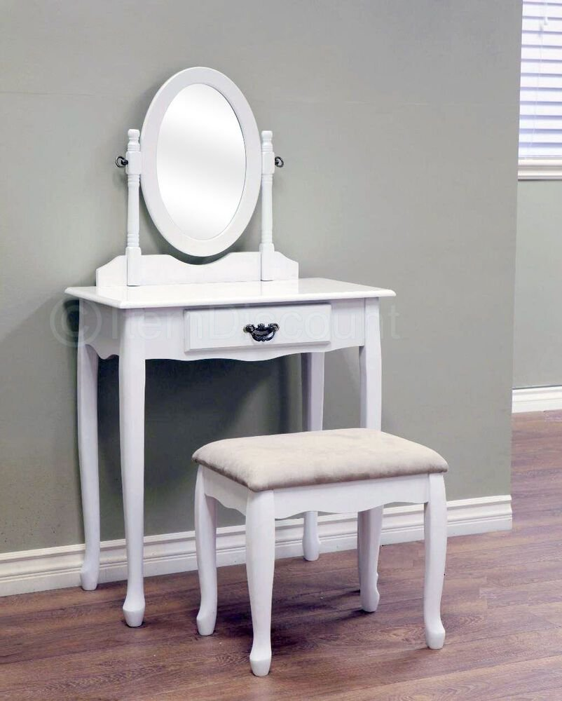 Best Queen Anne White Oval Mirror Bedroom Vanity Set Table With Pictures