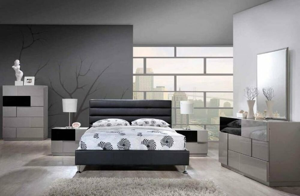 Best Modern Queen Glossy Gray Bedroom Set With Black With Pictures