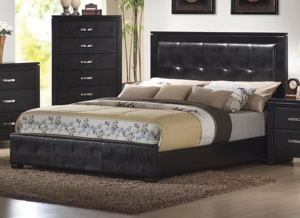 Best Queen King Size Beds In Faux Leather 4Pcs Bedroom Set With Pictures