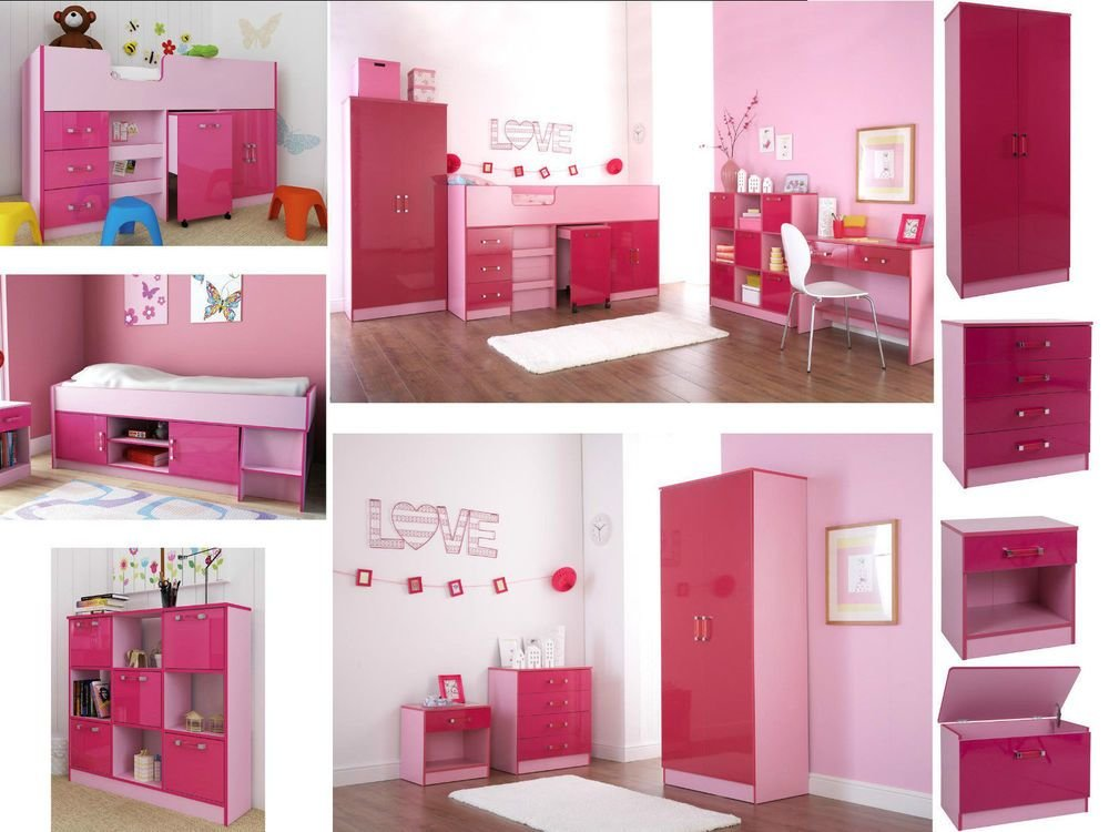 Best Ottawa Caspian Pink Gloss Girls Bedroom Furniture Wardrobe Drawers Beds Sets Ebay With Pictures