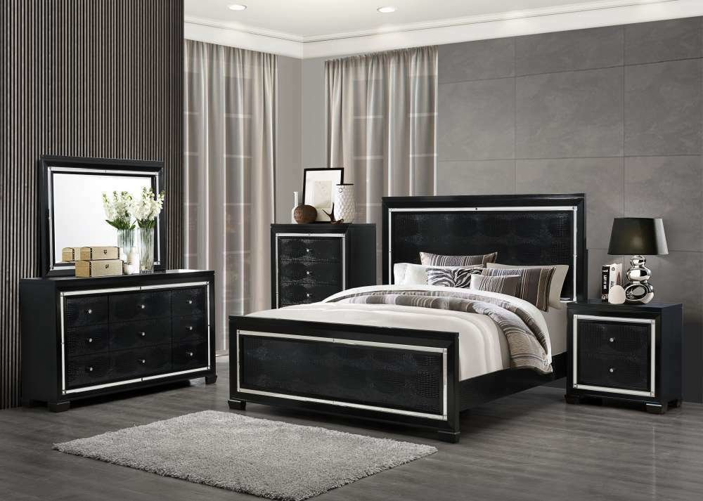 Best Super Modern Black Bedroom Set With Crocodile Upholstery With Pictures