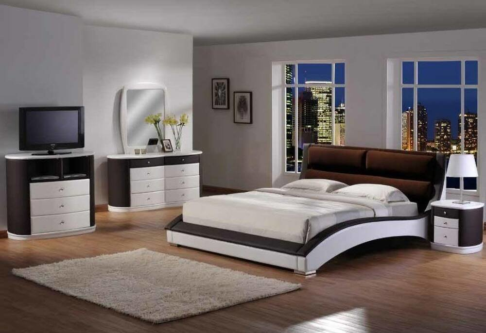 Best Modern 5Pc White Dark Brown Faux Leather Two Tone King Size Platform Bedroom Set Ebay With Pictures