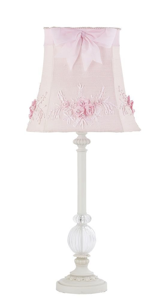 Best Kids Girls White Table Lamp Glass Pink Shade Nursery With Pictures