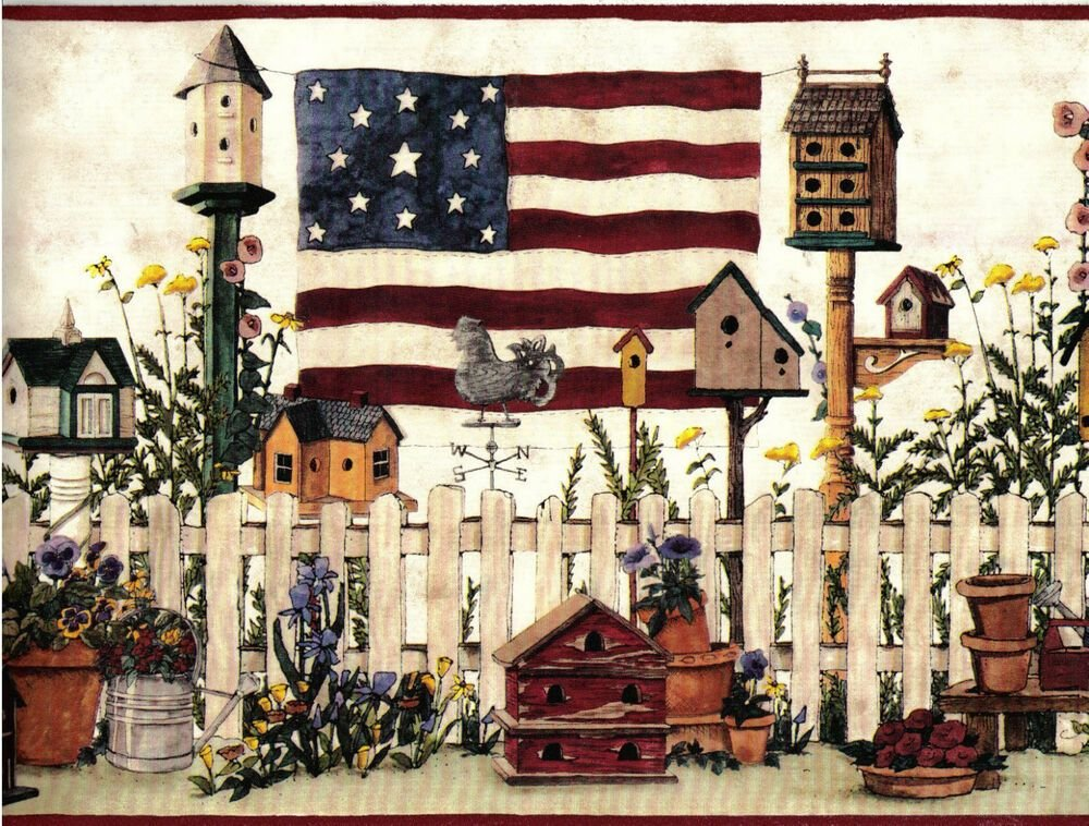 Best 1 Roll Wallpaper Border Country Americana Flag Birdhouse With Pictures