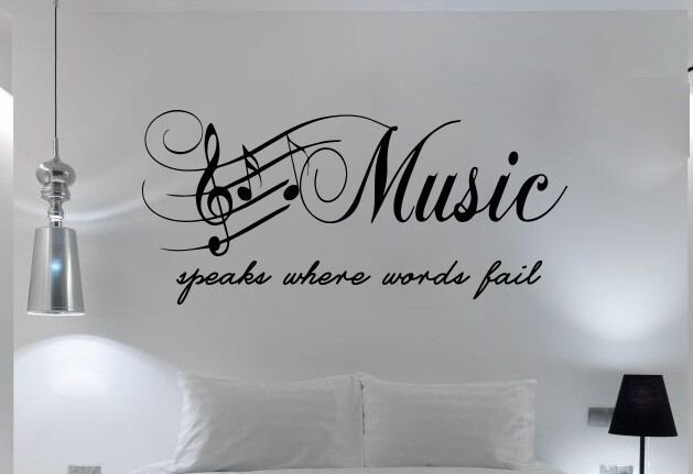Best Quote Bedroom Wall Art Music Speaks Words Fail Sticker With Pictures
