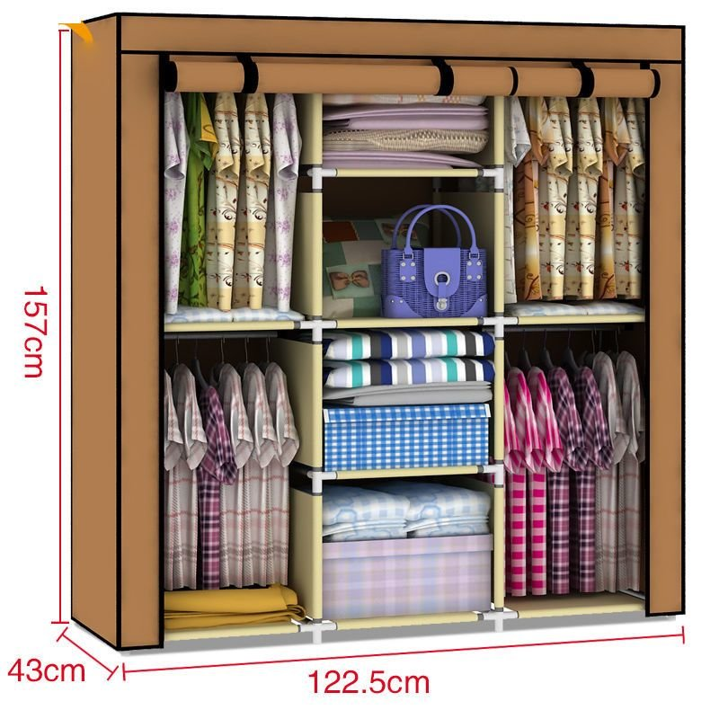 Best New Large Space Storage Portable Bedroom Wardrobe Rack With Pictures