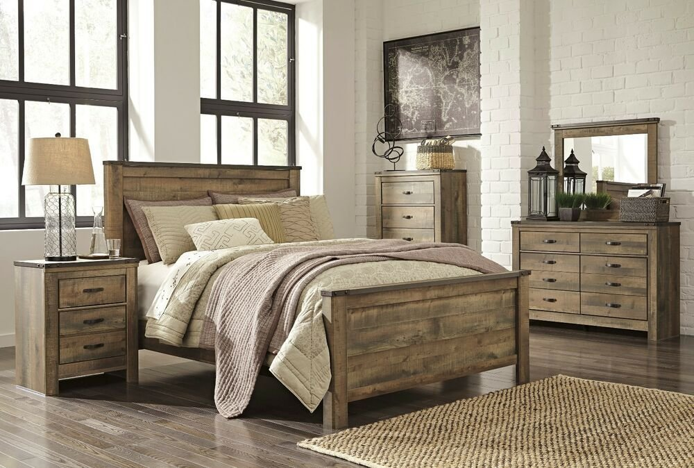 Best Ashley Trinell Queen Rustic 6 Piece Bed Set Furniture B446 With Pictures