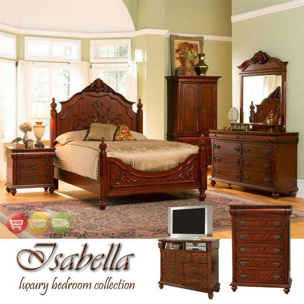 Best Isabella King Bed 4 Piece Beautiful Carved Bedroom With Pictures
