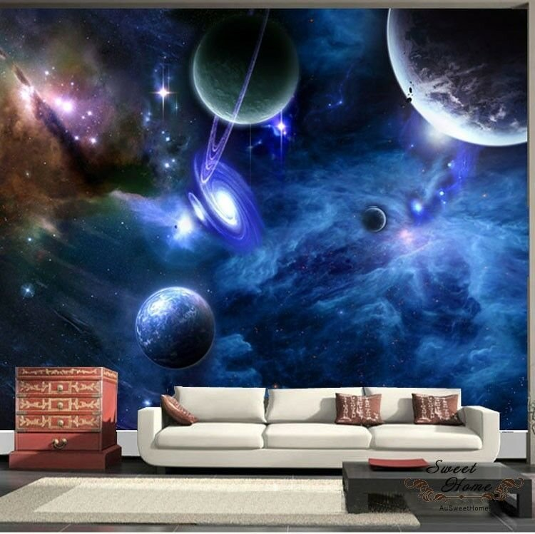 Best Universe Planet Space Full Wall Mural Print Decal Wallpaper Home Deco Diy Indoor Ebay With Pictures