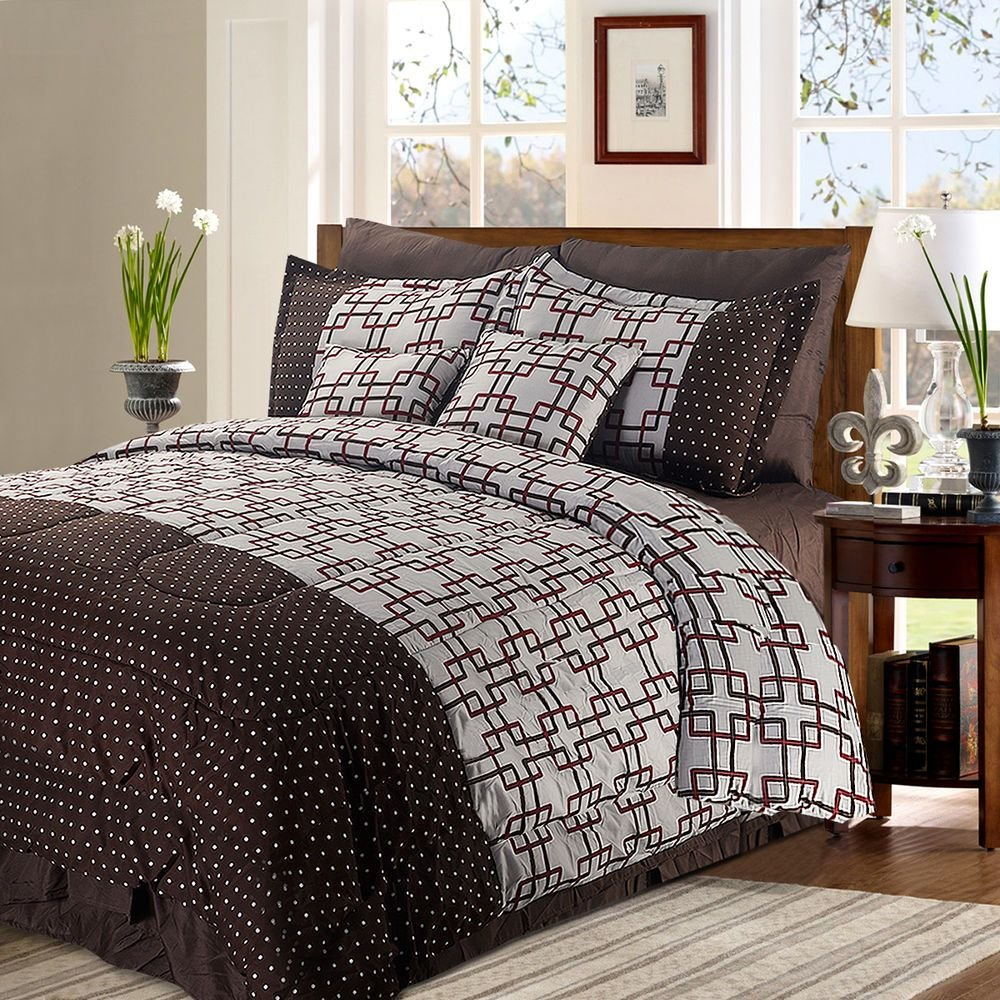 Best 8 2 Piece Luxury Plaid Bedding Comforter Set Plaid Prints Full Queen King Size Ebay With Pictures