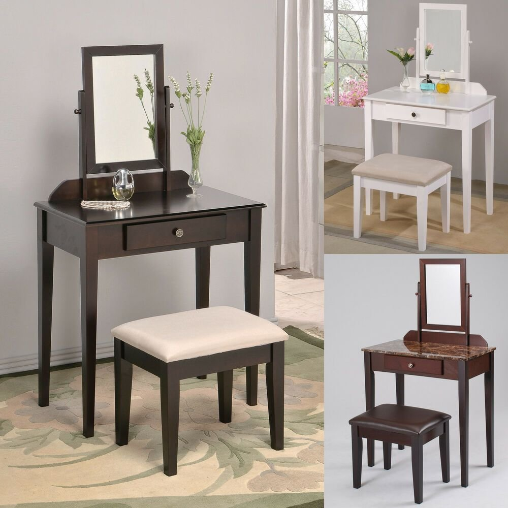 Best White Espresso Brown Large Swivel Square Mirror Bedroom Makeup Table Vanity Set Ebay With Pictures