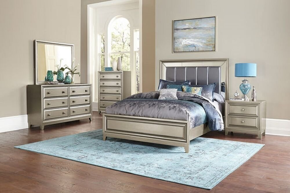 Best Glamorous 4 Pc Gray Mirrored King Bed Ns Dresser Mirror Bedroom Furniture Set Ebay With Pictures