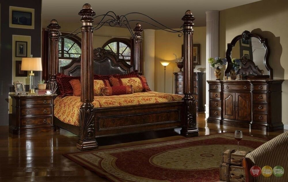 Best Traditional King Poster Canopy Leather Bed 4 Piece Bedroom Set Marble Tops New Ebay With Pictures